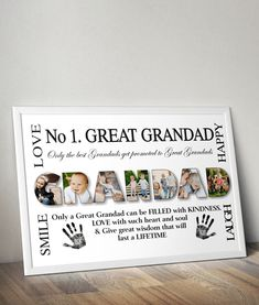 This personalised Great Grandad Photo Print will make a lovely gift for any Great Grandad. Every print will be personalised just for you. Each letter can be Personalised Prints, Personalized Photo Gifts, Grandparent Photo, Word Art, Just For You, Lettering, Art Prints, Words, Frame