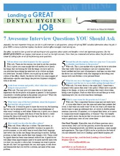 Get this and more at www.GetHiredRDH.com Landing a great dental hygiene job