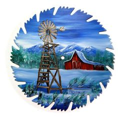 Hand Painted Saw Blade Art Mountain Winter Windmill and Red Barn