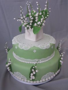 Lily of the valley birthday cake, decorated with the Sugarveil lace, fondant vase and flowers.