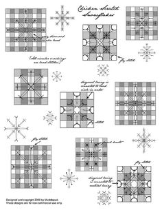 Patterns for nine different embroidered snowflakes using the Chicken Scratch method. Because these are so simple, they are not drawn to scale; these patterns are more guidelines or instructions for where to place your stitches. Designed and copyrighted 2009 by june at noon. These are intended for non-commercial use only.  To download the pattern, click here.