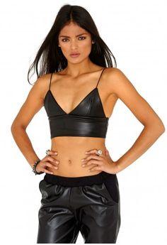 a4a953d024e Laboni Strappy Wet Look Bustier Bralet In Black - Tops - Bralets   Crop  Tops -
