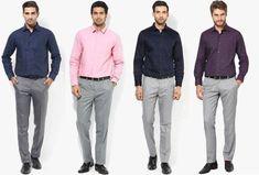 formal pant shirt style: all Matching shirts with gray pant Gray Shirt Outfit, Grey Dress Pants Men, Gray Pants, Red Shirt, Formal Men Outfit, Formal Dresses For Men, Formal Shirts For Men, Moda Casual, Pant Shirt