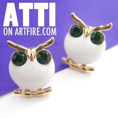 $6 Small Round White Owl Bird Animal Stud Earrings with Rhinestone Eyes