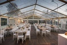 Clear roof marquee with dark wood floor and white tables Tent Reception, Wedding Reception, Wedding Designs, Wedding Styles, Wedding Ideas, Willows Farm, Clear Tent, Country Garden Weddings, Wedding Places