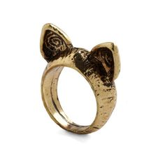 ModCloth Critters Ear the Call of the Wild Ring ($9.99) ❤ liked on Polyvore featuring jewelry, rings, accessories, gold, women's accessory, gold animal rings, sports jewelry, sport ring, animal rings and gold jewellery