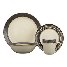 """Crate and Barrel Exclusive  Scavo Dinnerware with Swirl Salad Plate    $24.95 open stock $27.80  Earthy stoneware mingles cream and warm metallics with two rustic textures. All pieces are available with a """"woodcut"""" rim, while the salad plate with swirl rim can be layered in for graphic variation.        Stoneware      Dishwasher-, microwave- and oven-safe to 350 degrees  Scavo4pcPlcsetWSwirlF11"""
