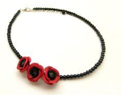 #Red #poppy  Poppy #necklace  Minimal necklace  by insoujewelry