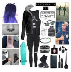 """Skating with vic✨"" by sanne-alta ❤ liked on Polyvore featuring Topshop, Converse, Cara Accessories, NARS Cosmetics, Christian Louboutin, Yves Saint Laurent, Ray-Ban and Vans"
