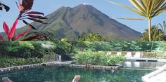 Eco Termales hot springs in Costa Rica. I actually have been here. It was divine! Plus, you can't beat the volcano backdrop.