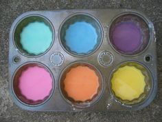 Sidewalk paint--1 cup corn starch, 1 cup water, some food coloring.= kids having a blast with home made chalk :)