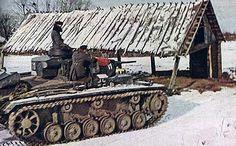 German World War 2 Colour Panzer III Tank In Russia In 1941