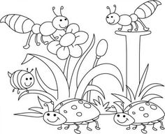 Desene de colorat cu Primavara e pe placul furnicilor si a buburuzelor - PLANSE DE COLORAT PRIMAVARA