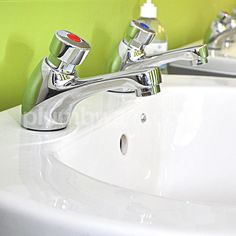 """Non-Concussive Taps. Pair of ½"""" self-closing basin taps manufactured by Deva. Available from Plumbware.co.uk"""