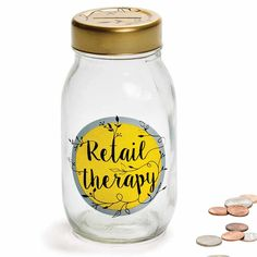 Retail Therapy Money Jar  Lots of New Products with our New Catalog.  Now out in your mailbox.    www.femailcreatio... #UniqueGifts #GiftsForWomen #Gifts #GiftsForAllOccassion #InspirationalGifts #Tribe #Sassy #Girlfriends #Sisterhood