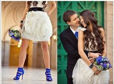 The way the skirt of her dress is ruffled like a rose. | 51 Beautiful City Hall Wedding Dress Details You'll Swoon Over