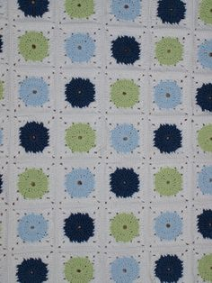 Baby Blanket Crocheted Circles Blue, Green and White