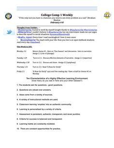 Week #3 weekly syllabus page one.