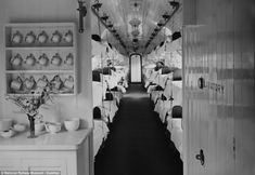 Ambulance train interior. A cup of tea from a nurse was often the first treatment a soldier got as he headed back to Britain