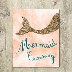 coral and gold mermaid printable glitter mermaid tail wall decor ocean nursery jpg, mermaid digital download girls room decor gold and coral by SunnyRainFactory on Etsy https://www.etsy.com/listing/216334246/coral-and-gold-mermaid-printable-glitter