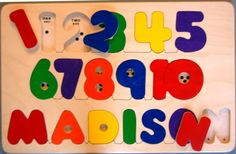 Wooden NAME and NUMBERS puzzle -  a memorable birthday gift, a fun yet educational toy. Chunky puzzle pieces. Bilingual. Eco-friendly, too! on Etsy, $45.00