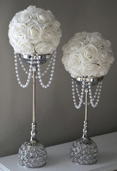 white flower ball with draping pearls wedding decor bridal shower flower girl choose your Table Centerpieces, Wedding Centerpieces, Wedding Table, Wedding Bouquets, Wedding Flowers, Pearl Wedding Decorations, Elegant Centerpieces, Centerpiece Ideas, Bling Centerpiece