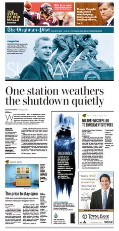 The Virginian-Pilot's front page for Sunday, Oct. 13, 2013.