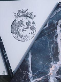 crystal cluster moon dotwork drawing marble notebook tattoo design artwork illustration