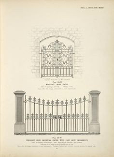 Wrought iron gates. Wrought iron driveway gates, with cast iron ornaments.