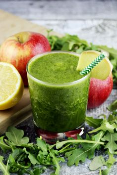 Peppery Pick-Me-Up Arugula Green Smoothie Recipe by Green Blender: Rucola, rocket, colewort, roquette-- arugula by any other name is just as delicious! This foodie favorite isn't just for salads and pizza. It's rich in vitamin C and potassium, and adds a peppery kick to a classic green smoothie. The cleansing combination of apple, lemon, and ginger ease digestion, energize, and help the skin. Flaxseed adds just enough nuttiness and robustness to be filling. This smoothie is refreshing and…