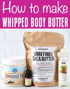 Body Butter Recipe - Easy Whipped Shea Non Greasy moisturizer!  You won't believe how quick and simple it is to make this luxurious moisturizer... just 4 ingredients, a few minutes and you're done!  Plus... you can even make extras to give as sweet little gifts in a jar to friends and family!  Go grab the recipe and give it a try this week! Homemade Beauty, Diy Beauty, Beauty Tips, Easy Butter Recipe, Organic Makeup, Organic Beauty, Natural Beauty, Skin Products, Natural Products