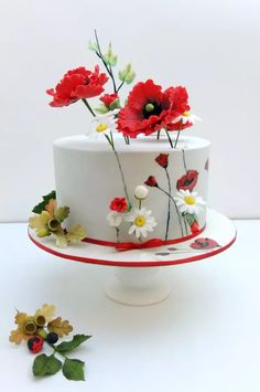 Birthday Cake with Painted Poppies