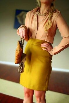 blush blouse and mustard skirt Fall Outfits For Work, Summer Fashion Outfits, Edgy Outfits, Colourful Outfits, Classy Outfits, Love Fashion, Autumn Fashion, Skirt Outfits, Fashion Ideas