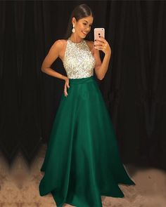 Sequins Beaded Halter Long Satin Prom Dresses green prom dresses long satin sequin beaded evening gowns Halter Sleeveless Beaded Satin A-line Grad Dresses Short, Prom Dresses With Pockets, Elegant Prom Dresses, Prom Dresses 2018, Day Dresses, Formal Dresses, Satin Dresses, Beaded Dresses, Halter Top Prom Dresses