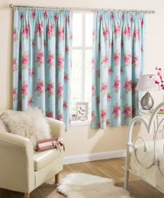 """Duck Egg Blue Thermal Blockout Lined Curtains, Ready Made Tape Curtain Pairs, 46"""" x 54"""": Amazon.co.uk: Kitchen & Home"""