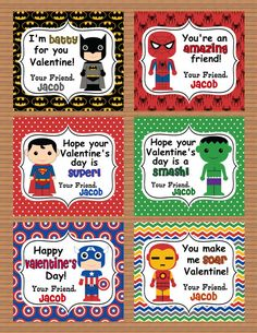 Personalized Superheroes Boys Valentine Class Cards for School digital download custom party Batman Superman Spiderman Ironman Hulk America on Etsy, $4.50