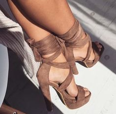 Wheretoget - Brown leather lace up high heels