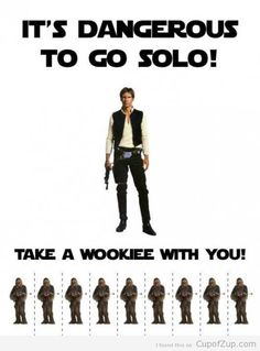"""""""It's Dangerous to go Solo, take a Wookie with you"""", Han Solo and Chewbacca, Star Wars Humor. Theme Star Wars, Star Wars Party, Amour Star Wars, Dark Vader, Anniversaire Star Wars, Starwars, Going Solo, The Force Is Strong, Love Stars"""