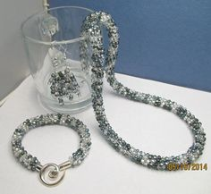 Stunning Kumihimo Necklace Bracelet and Earring by TheGlassSeed, $60.00