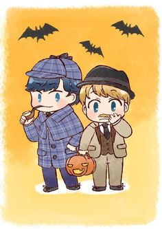 Sherlock and John in their halloween costumes Adorable!! i hope that's a fake mustache