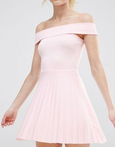 Image 3 of ASOS PETITE Off The Shoulder Bardot Pleated Mini Dress
