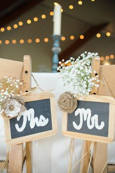 Rustic mr & mrs reception signs