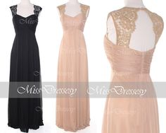 Long Party Dresses, Straps Chiffon Long Black/Champagne Bridesmaid Dresses, Wedding Party Dresses, Long Formal Gown on Etsy, $159.42 AUD