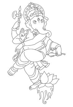 Ganesh Tattoo Design by ganesha. Ganesha Drawing, Lord Ganesha Paintings, Ganesha Art, Krishna Art, Art Drawings For Kids, Outline Drawings, Art Drawings Sketches, Ganesh Tattoo, Hindu Tattoos