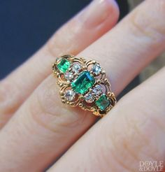 A little something green for the big day. Delicate filigree Georgian emerald and diamond ring in gold. Circa 1830, from Doyle & Doyle.