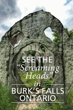 Screaming Heads (near Burk's Falls, Ontario) #ScreamingHeads #artinstallations #quirkyplacesOntario #burksfalls #concretesculpture