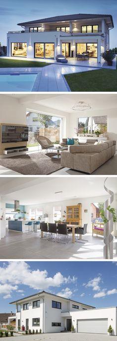 Modernes Design-Haus mit Pool und Garage - WeberHaus Stadtvilla als Fertighaus - HausbauDirekt.de