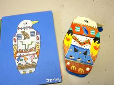 These are the fun sarcophagi the graders made from clay. We spent a few days learning about Egyptian art and drawing them on paper. See my previous post about the drawings. Art Lessons For Kids, Art Lessons Elementary, Art For Kids, 4 Kids, Clay Projects, Projects For Kids, Project Ideas, Kids Watercolor, History Projects