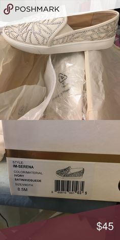 Ivory Satin Imagine Vince Camuto 8.5 I'm-Serena Crystal Jeweled Ivory Satin Imagine Vince Camuto 8.5 I'm-Serena Shoes New IN BOX Vince Camuto Shoes Sneakers