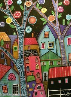 """Neighborhood"" by Karla Gerard Karla Gerard, Illustrations, Illustration Art, Arte Popular, Naive Art, Craft Sale, Whimsical Art, Doodle Art, Kitsch"